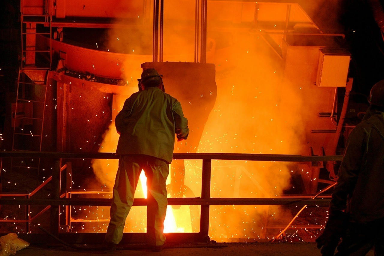 Steel worker in mill